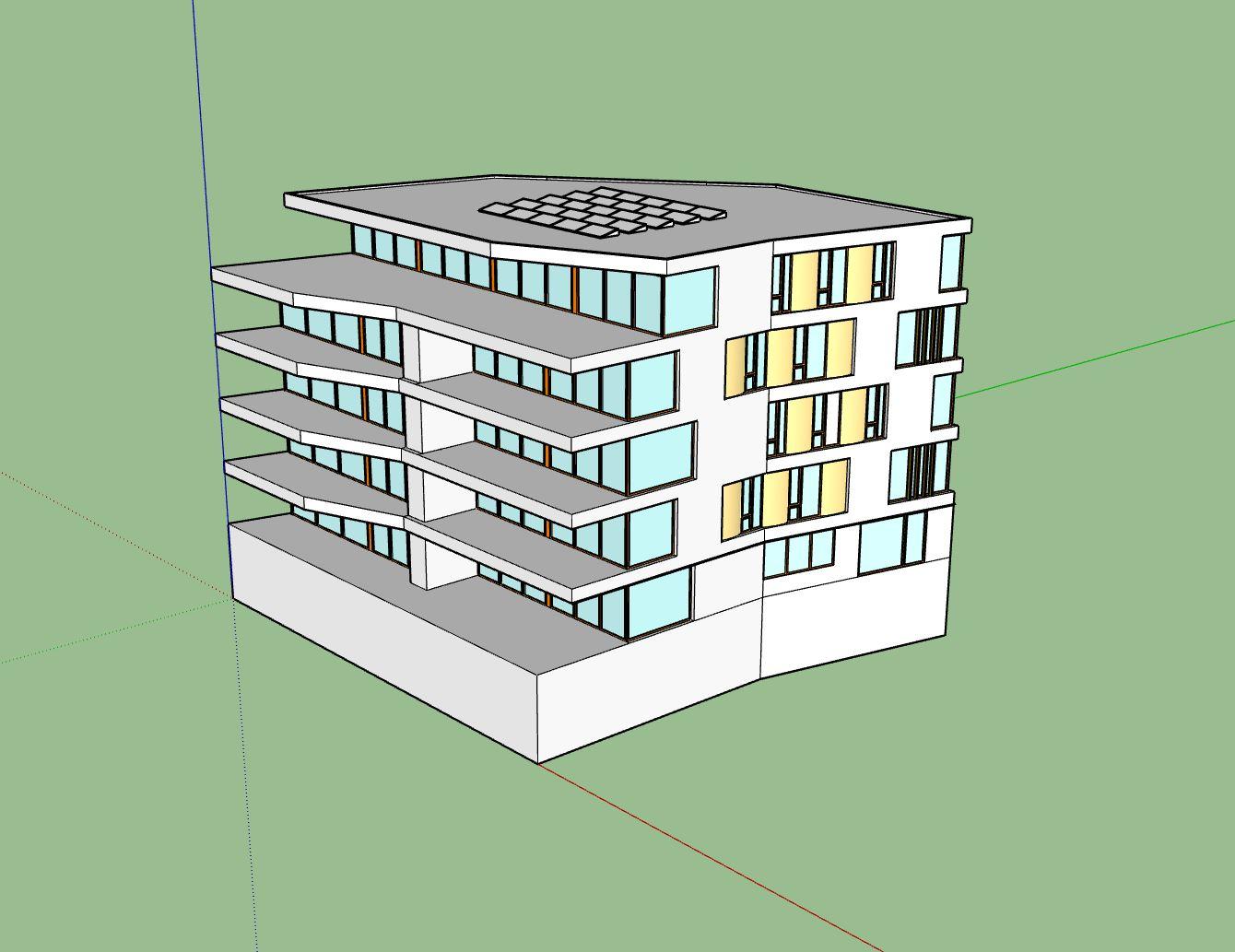 een gebouw van 'de Parkwachter', zoals ik het getekend heb.